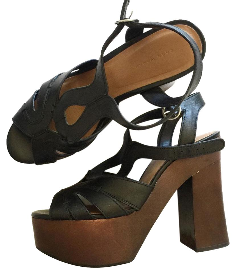 7db153fa8d7 Zara Black Brown Chunky T Strap Platforms. Size  EU 40 (Approx. US 10) ...