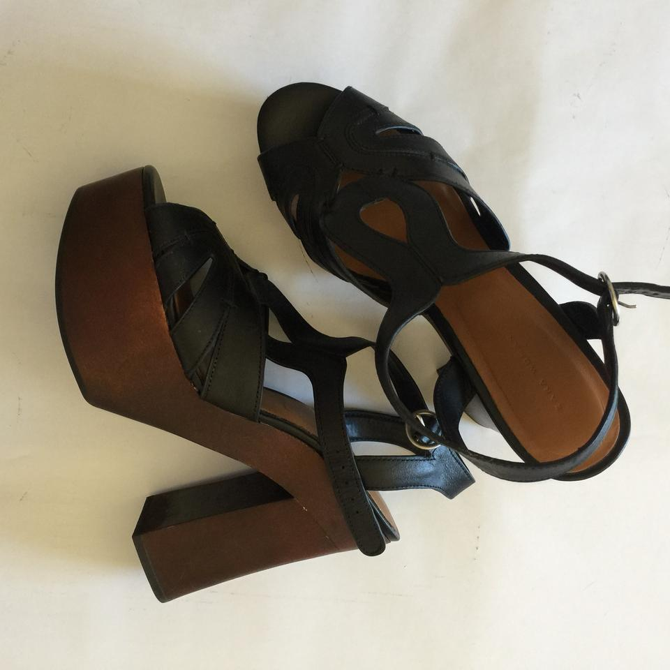 100bfc56264 Zara Black Brown Chunky T Strap Platforms Size EU 40 (Approx. US 10)  Regular (M
