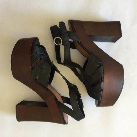 9c2b1baf550 Zara Black Brown Chunky T Strap Platforms Size EU 40 (Approx. US 10 ...
