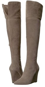 Pour La Victoire Wedge Tall Suede Leather Grey Boots