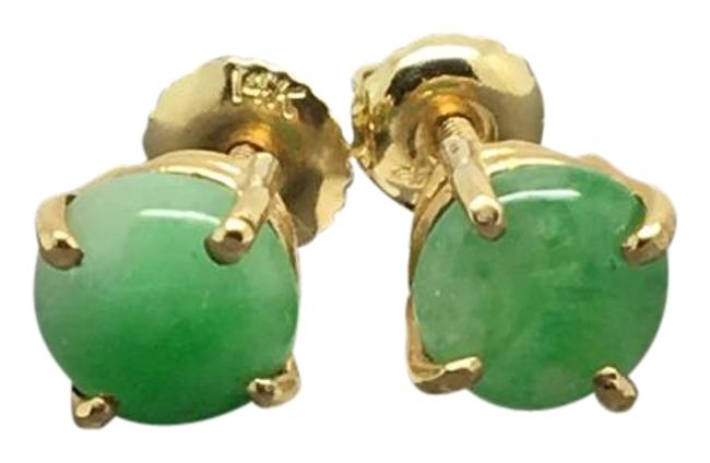 14k Yellow Gold Natural Round Jade Stud Earrings 14k Yellow Gold Natural Round Jade Stud Earrings Image 1