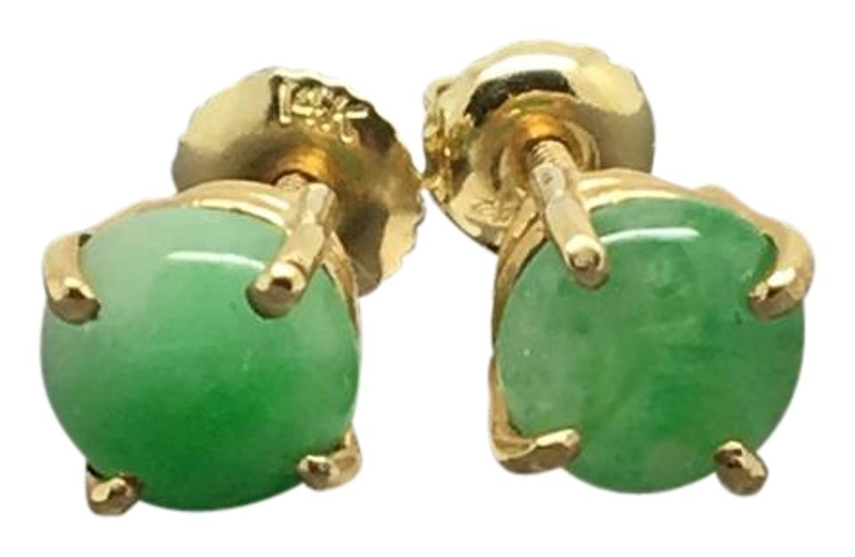 14k Yellow Gold Natural Round Jade Stud Earrings 54 Off Retail