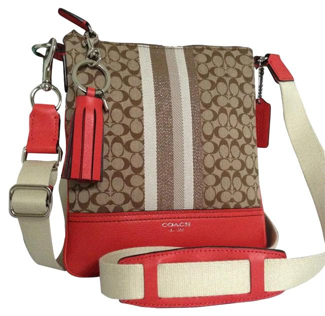 Coach Khaki Legacy Stripe Tassel Keychain Brown Red Fabric/Leather Cross Body Bag Coach Khaki Legacy Stripe Tassel Keychain Brown Red Fabric/Leather Cross Body Bag Image 1