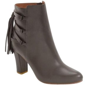 Halogen Leather Tassel Ankle Grey Boots