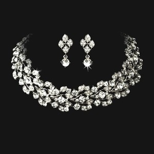 Bella Tiara Elegant Chocker Bridal Necklace Set Jewelry Set