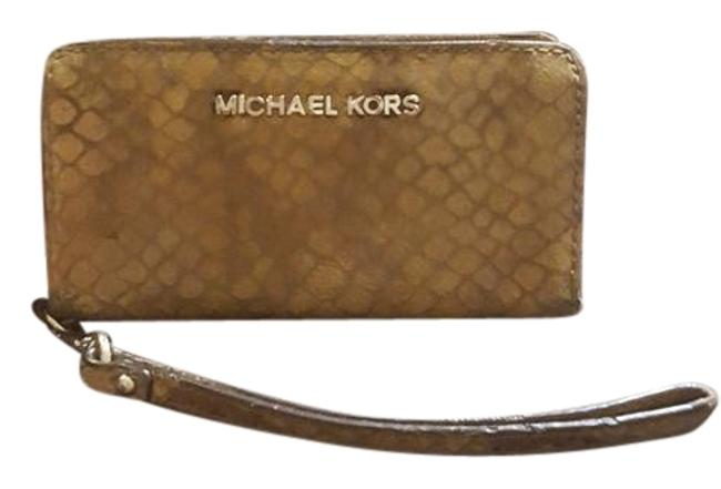 Michael Kors Brown Embossed Leather Wristlet Wallet Michael Kors Brown Embossed Leather Wristlet Wallet Image 1