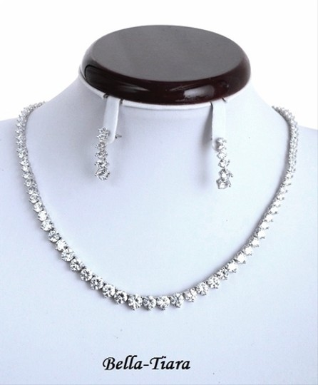 Bella Tiara Dazzling Elegant Cz Wedding Tennis Necklace Set