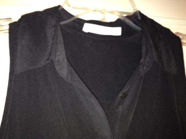 Other Silk Chiffon Sheer Night Out Top Black