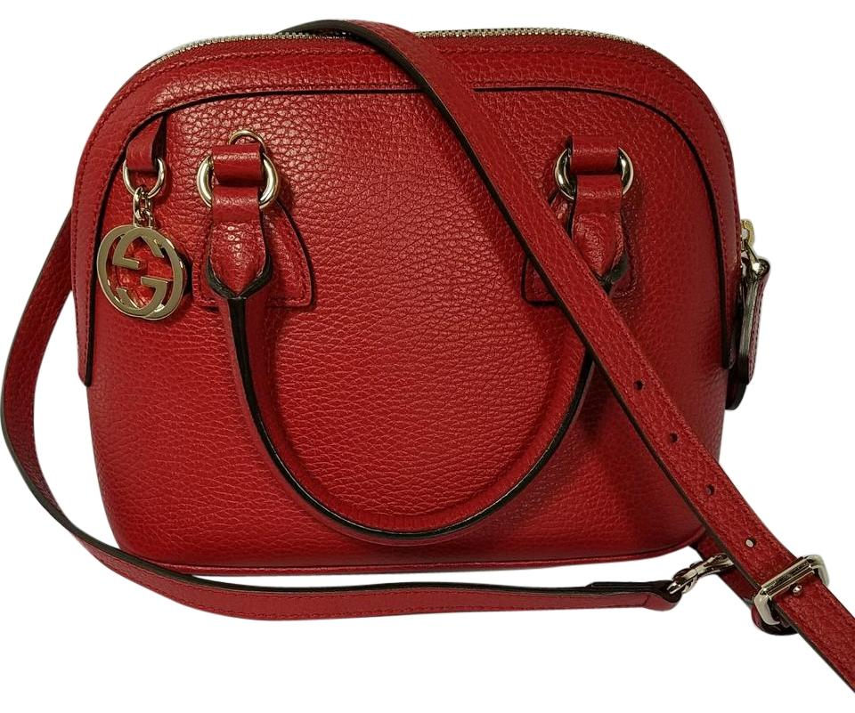 7702c7048257 Gucci Nwts 449661 Calf Dollar Rosso Red Leather Shoulder Bag - Tradesy
