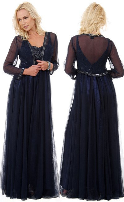 Navy English Net Mother Of The Bride Beaded Luxury 2 Pcs Cardigan Formal Bridesmaid/Mob Dress Size 12 (L) Navy English Net Mother Of The Bride Beaded Luxury 2 Pcs Cardigan Formal Bridesmaid/Mob Dress Size 12 (L) Image 1