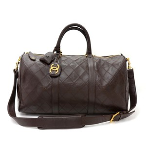 Chanel Calfskin Leather Vintage Brown Travel Bag