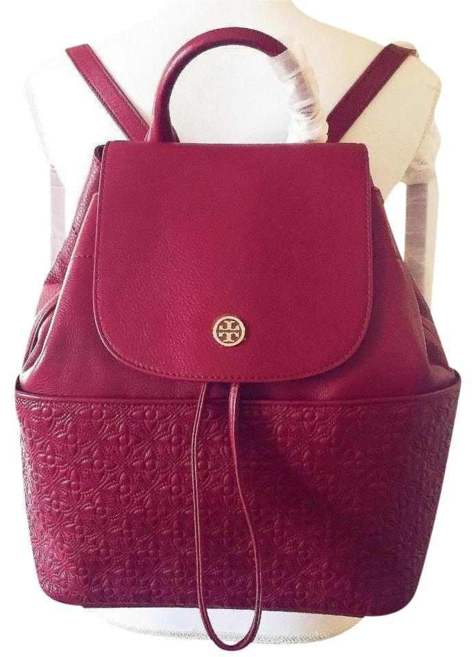 5eea711d8f74 Tory Burch Bryant Large Quilted Red Agate Leather Backpack - Tradesy