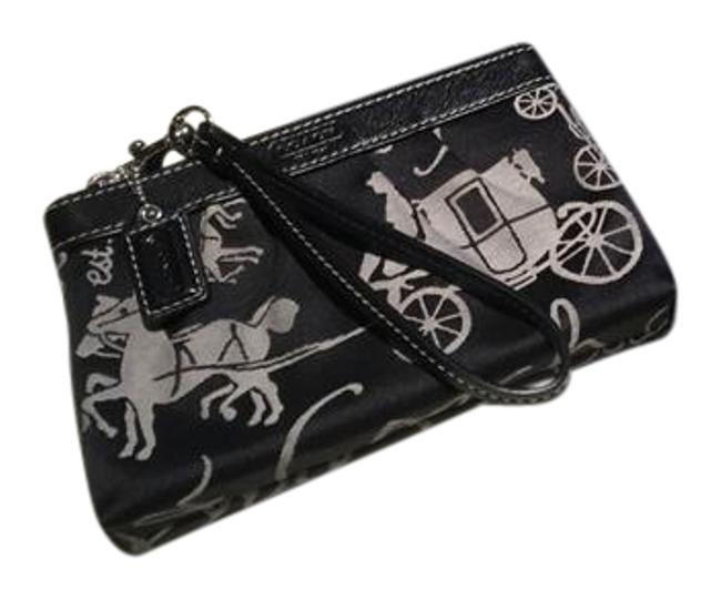 Item - Horse with Stagecoach Black & Grey Cotton Clutch