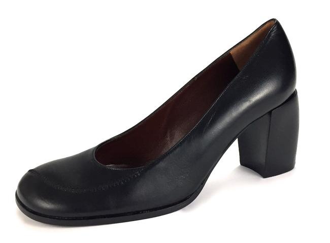 "Bally Black Made In England Classic ""Niva"" Leather Round Toe Wooden Heel Pumps Size US 6 Narrow (Aa, N) Bally Black Made In England Classic ""Niva"" Leather Round Toe Wooden Heel Pumps Size US 6 Narrow (Aa, N) Image 1"