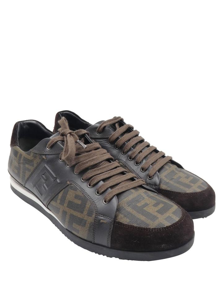 23a65f52 Fendi Brown Suede Coated Canvas Zucca Print Low Top Men's Sneakers Size US  10 Regular (M, B) 40% off retail