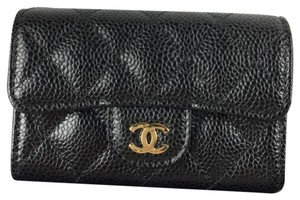 Chanel Chanel Classic Flap Card Holder in Black Caviar with GHW