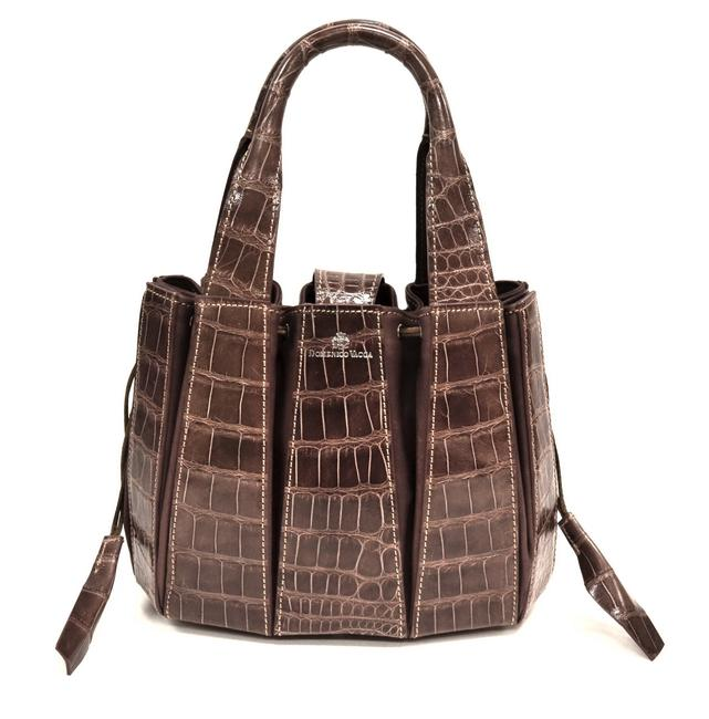 Domenico Vacca Julie Brown Alligator Skin Leather Tote Domenico Vacca Julie Brown Alligator Skin Leather Tote Image 1