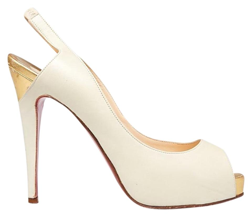 de6bf549052 Christian Louboutin White/Gold White/Gold Leather No Prive 120 Slingback  Heels Si Sandals Size EU 39 (Approx. US 9) Regular (M, B)