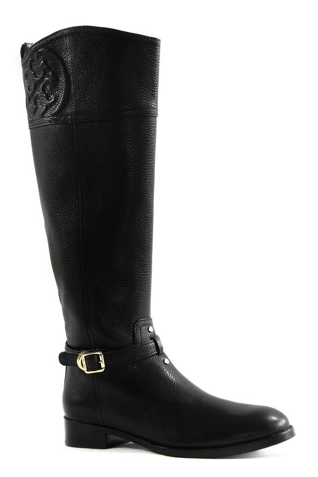 b99af3e73cc Tory Burch Black Marlene Tumbled Leather Riding Boots Booties Size ...
