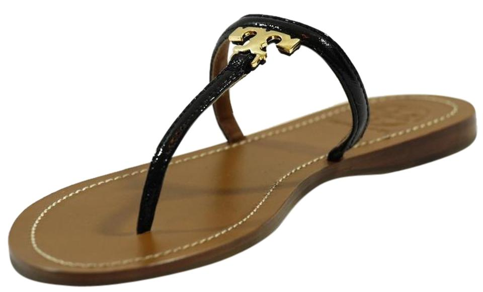 Tory Burch Black T Leather Logo Flat Thong Patent Leather T Sandals 717427
