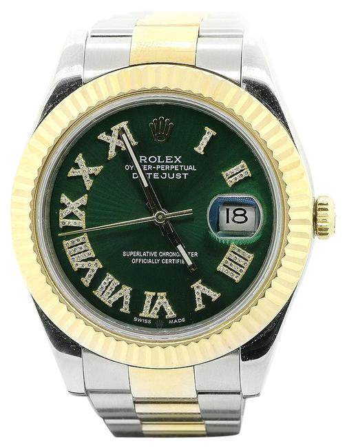 Rolex Green Datejust Ii 116333 Two-tone 18kyg Fluted Bezel Dial Watch Rolex Green Datejust Ii 116333 Two-tone 18kyg Fluted Bezel Dial Watch Image 1
