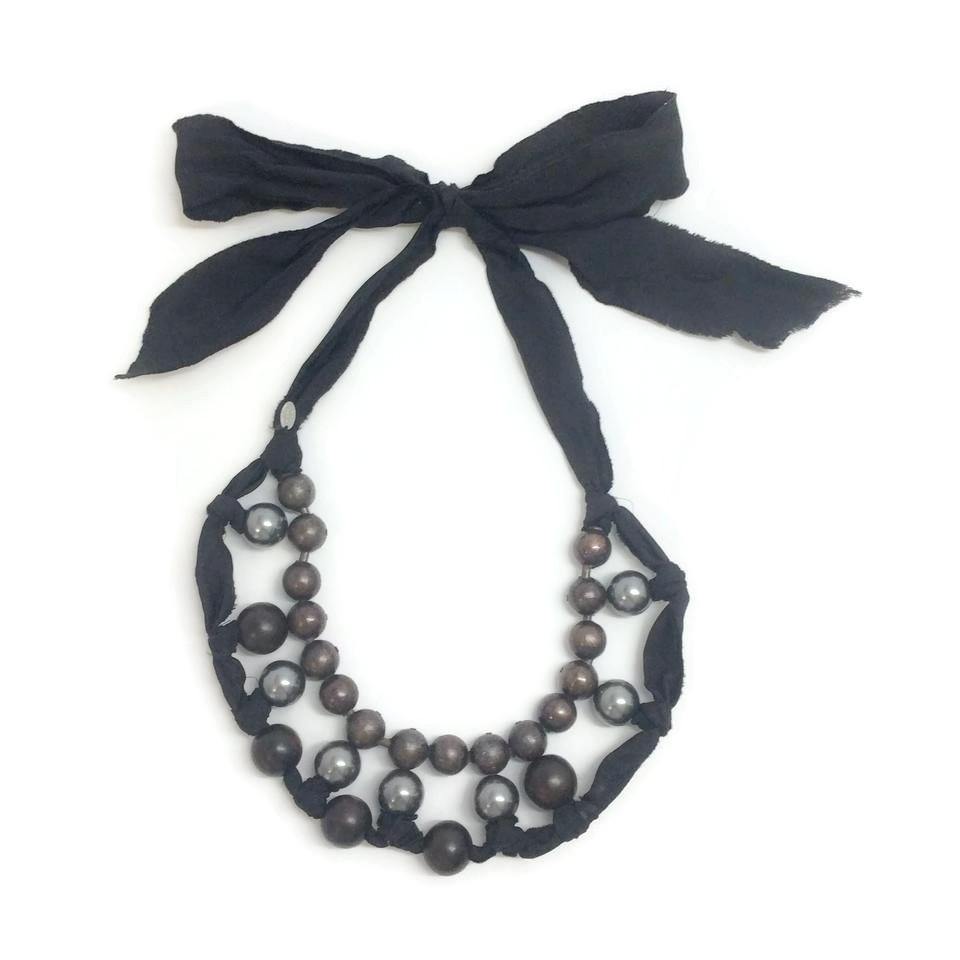Lanvin Pearl Necklace: Lanvin Brown / Black Faux Pearl Wooden Bead & Ribbon