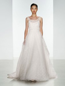 CHRISTOS Light Ivory (Looks Diamond White) Beaded Chantilly Lace and Tulle Claire T372 Formal Wedding Dress Size 10 (M)