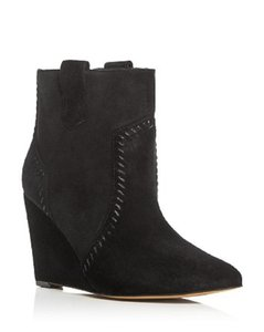 Rebecca Minkoff Suede Leather Ankle Wedge Black Boots