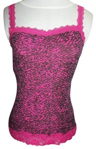 Eyeshadow Hot Pink Black Lace Trim Casual Top Hot Pink/Black/Purple