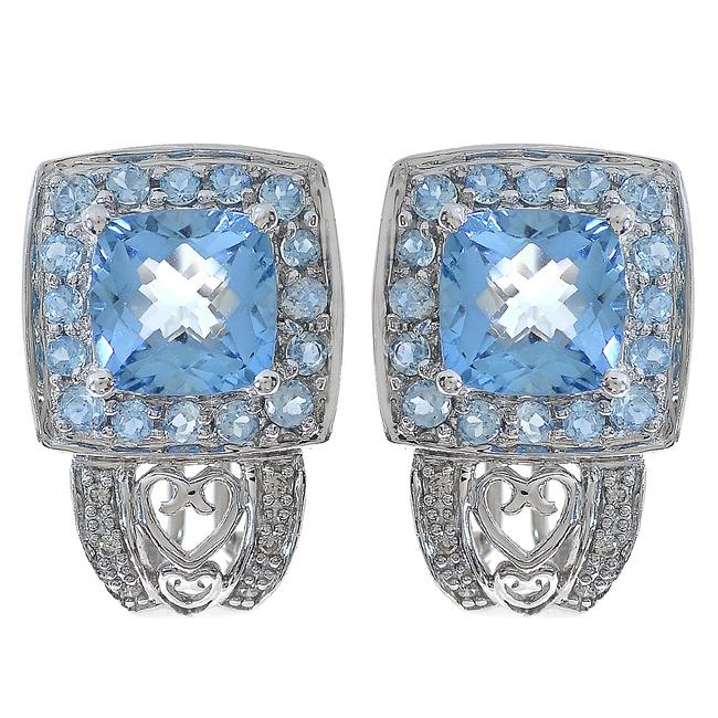 Avital & Co Jewelry White Gold 4.00 Carat Blue Topaz and 0.10 Carat Diamond 14k Earrings Avital & Co Jewelry White Gold 4.00 Carat Blue Topaz and 0.10 Carat Diamond 14k Earrings Image 1