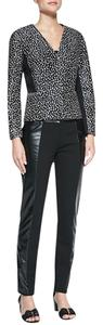 Tory Burch Ponte Faux-leather Straight Pants Black