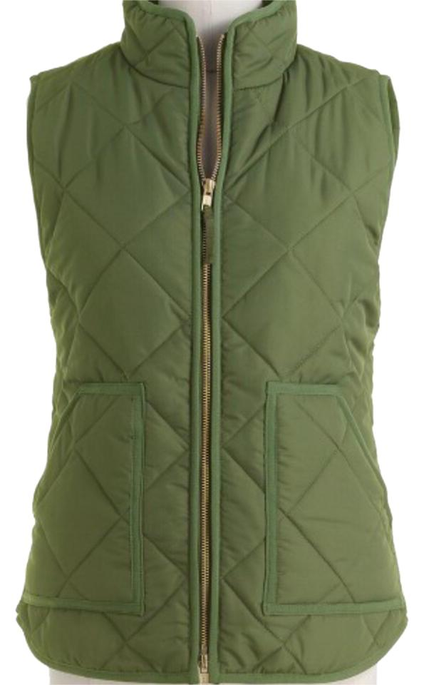 J Crew Olive Green Quilted Puffer Vest Size 6 S Tradesy