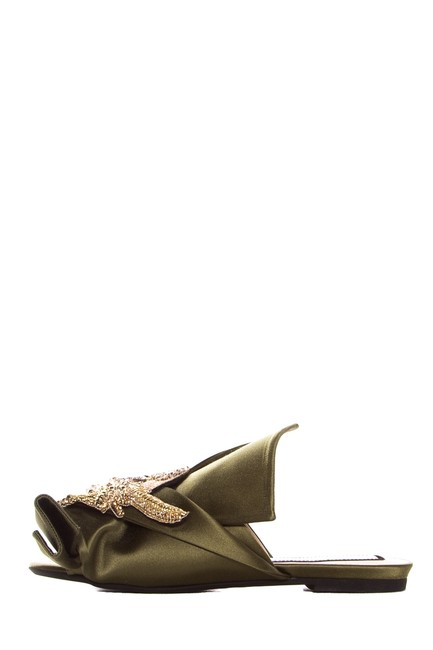 Item - Olive Satin Rubber Sole Slide Sandals Size EU 36.5 (Approx. US 6.5) Regular (M, B)