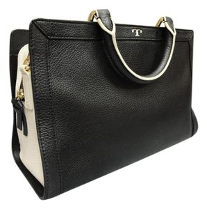 Tory Burch Leather Cross Body Strap Satchel in Black and Ivory