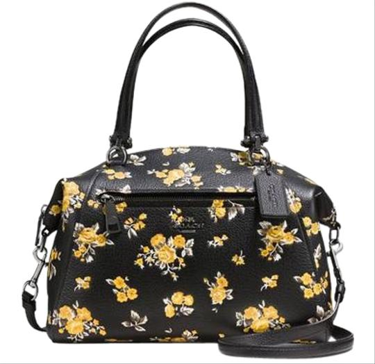 Coach Black Leather And Yellow Floral Prairie Pebble