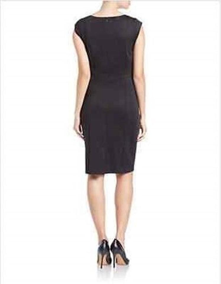 Karl Lagerfeld Black Little V Neck Cap Sleeve Fitted Stretch Mid