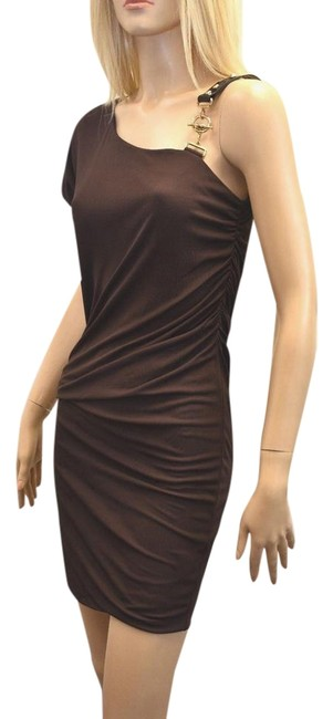 Item - Brown Jersey Ruche Bodycon Short Night Out Dress Size 8 (M)