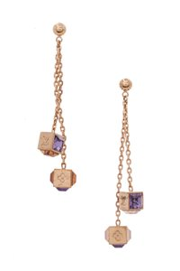 Louis Vuitton Louis Vuitton Gold-Tone & Purple Swarovski Crystal Gamble Earrings