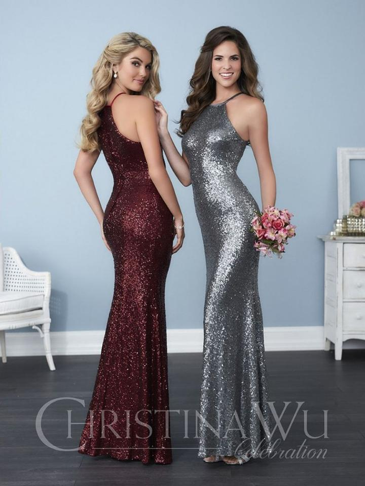 Christina Wu Claret Sequin 22756 Formal Bridesmaid Mob Dress Size 10 M