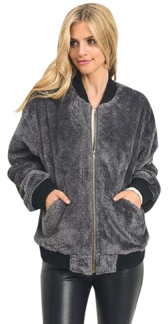 Item - Gray L Faux Fur Bomber New Charcoal Fall Winter Holiday Jacket Size 12 (L)