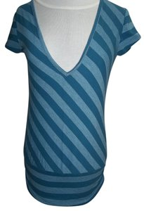 Maurices V-plunge Neckline Blue Cotton Blend Cap Sleeves T Shirt Teal/Heather Teal Stripe