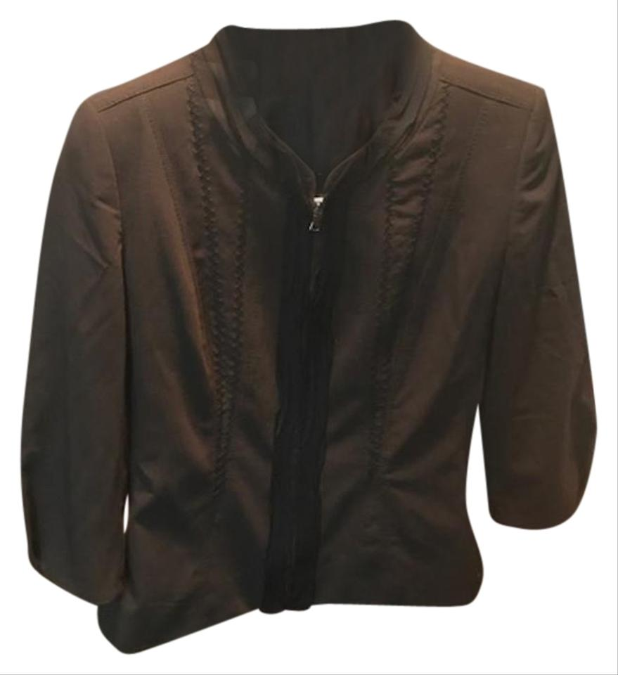 85cd9a47c40 Elie Tahari Updated Classic Zip Front Exposed Stitching Whipstitch 3 4  Sleeves brown Blazer ...