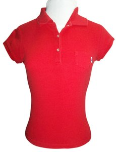 Abercrombie & Fitch Medium Sporty Cap Sleeves T Shirt Red