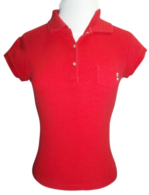 Abercrombie & Fitch Medium Sporty Cap Sleeves Collar T Shirt Red