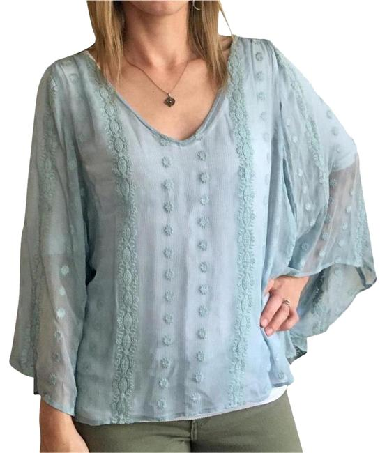 Item - Blue Silk Embroidered Batwing Poncho Blouse Size 4 (S)