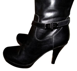 Guess Faux Leather Knee High Bootie Black Boots