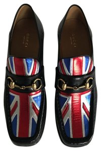 Gucci Black, Red, Silver and Blue Flats