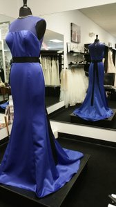 Badgley Mischka Blue Ink/ Black Satin and Netting Bm8 Formal Bridesmaid/Mob Dress Size 8 (M)