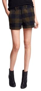 Rag & Bone Casual Chic Tomboy Checkered Flannel Mini/Short Shorts Olive, Navy