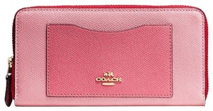 Coach NEW! Colorblock Leather Wallet in Strawberry Pink Accordion Zip Around